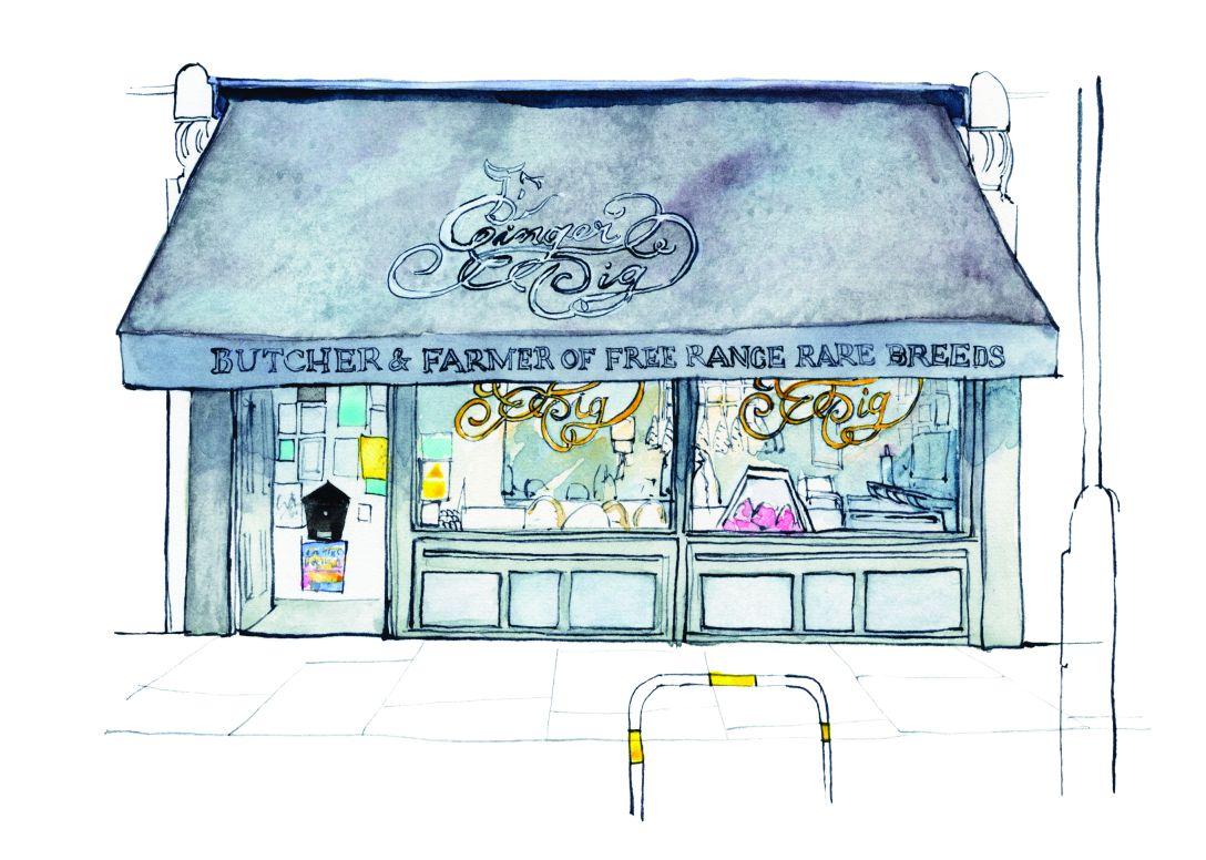 Illustration from Shopfronts of London by Eleanor Crow (Batsford Ltd)